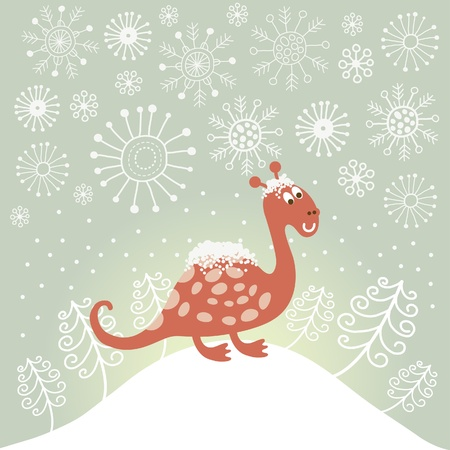 cute snowy dragon , symbol of new year 1012 Vector