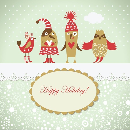 Christmas card with cute birds Vector