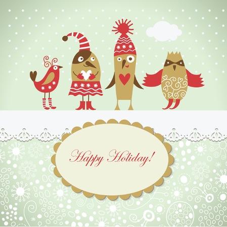 christmas postcard: Christmas card with cute birds
