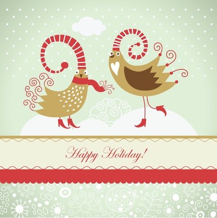 whimsical pattern: Christmas card with cute birds