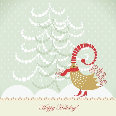 Christmas card with cute bird Vector