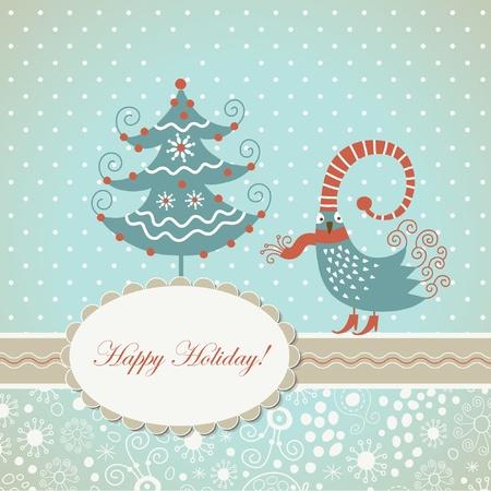 whimsical: Christmas card with cute bird
