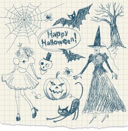 cat suit: Halloween doodles