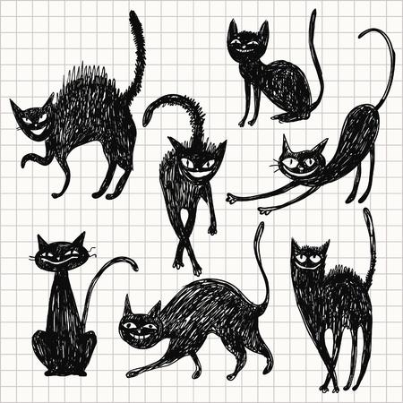 cartoon witch: set of black cats