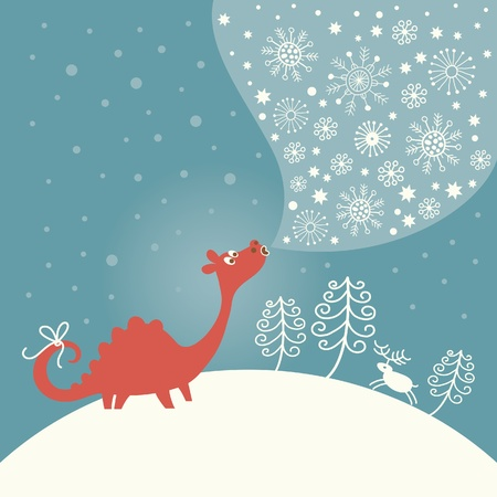 Cute dragon, greeting Christmas card Vector