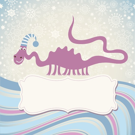 christmas dragon: Greeting card with frame for your text Illustration