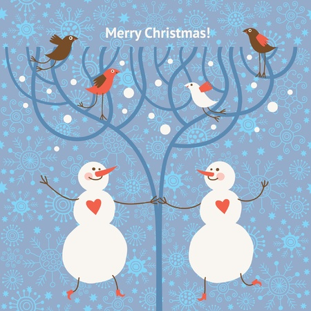 Two cute snowmans and birds Stock Vector - 10854369