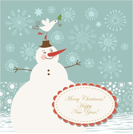 cute snowman , christmas greeting card Stock Vector - 10854367