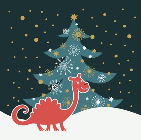 christmas dragon: cute dragon , greeting christmas card Illustration