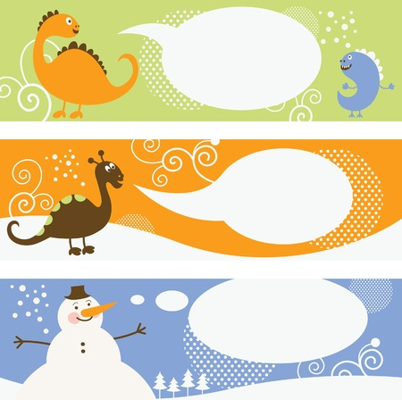 christmas dragon: set of horizontal christmas banners