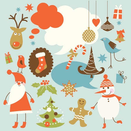Christmas background, collection of icons Vector