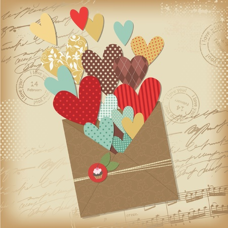 old envelope: Retro scrapbooking elements, Valentine card Illustration