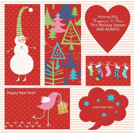 deseos: Conjunto de elementos de la Navidad Vectores