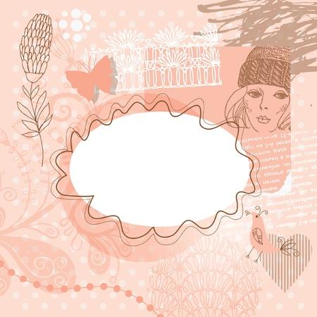 photo album page: Resumen de antecedentes con elementos florales, plantilla de la chatarra