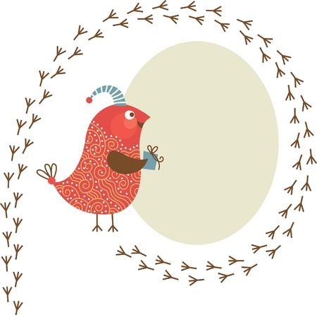 bullfinch: Greeting card  Illustration