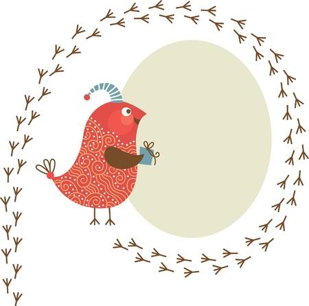 vogelspuren: Grußkarte Illustration