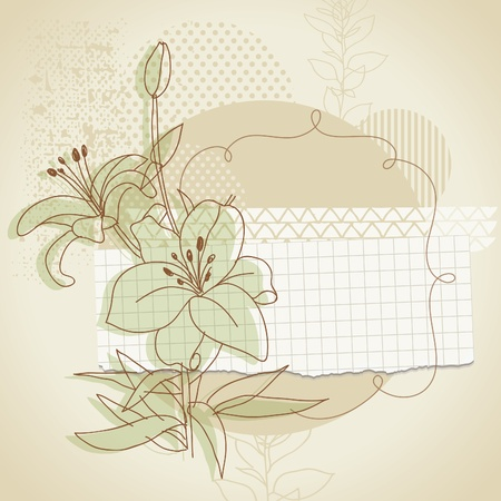 scrap booking: grunge background with floral elements Illustration