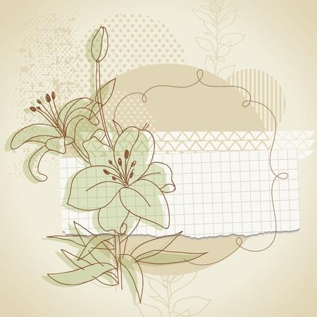 scrap: grunge de fond avec les �l�ments floraux Illustration