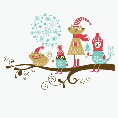 cute cards: cheerful group