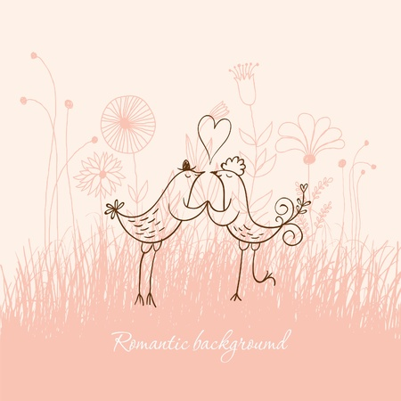 Romantic birds Vector