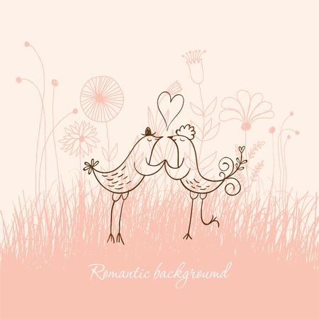 wed: Romantic birds Illustration