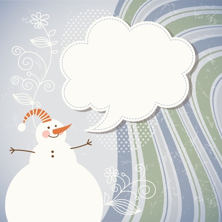 Snowman and speech bubble  Stock Vector - 11213572