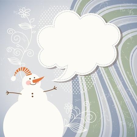 Snowman and speech bubble Stock Vector - 11213572