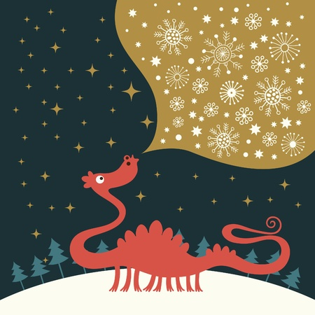 dragon year: cute dragon , greeting christmas card Illustration