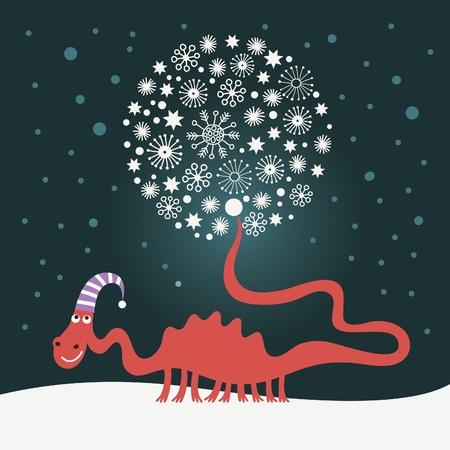 baby dragon: cute snowy dragon for greeting christmas card
