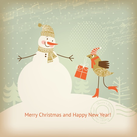 snowman christmas: Christmas and New Years greeting card
