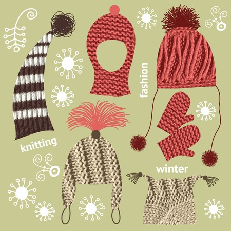 set of knitted hats Vector