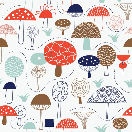champignon: seamless pattern with mushrooms