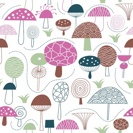 champignon: Seamless pattern with mushrooms, fabric design
