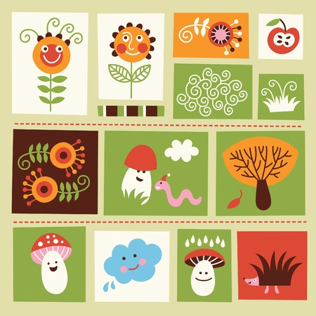 set of cartoons kids elements Vector
