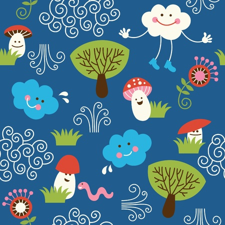 cartooning: seamless pattern with cute muchrooms, clouds and trees