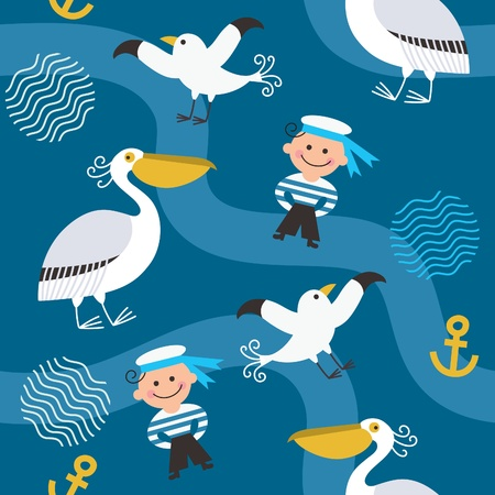 cute bird: seamless pattern with sea elements