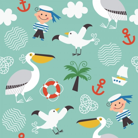Pelican: seamless pattern with sea elements