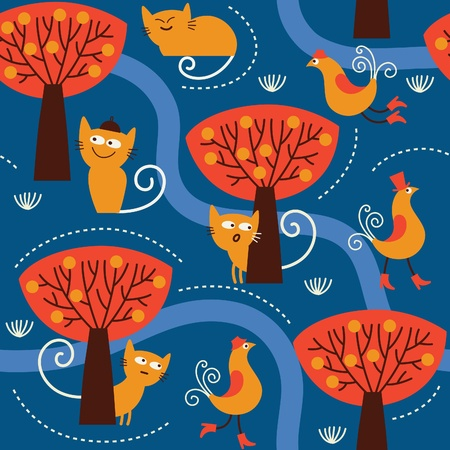seamless pattern with cats Stock Vector - 12834977