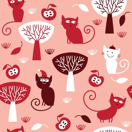 seamless pattern with cats, red and pink