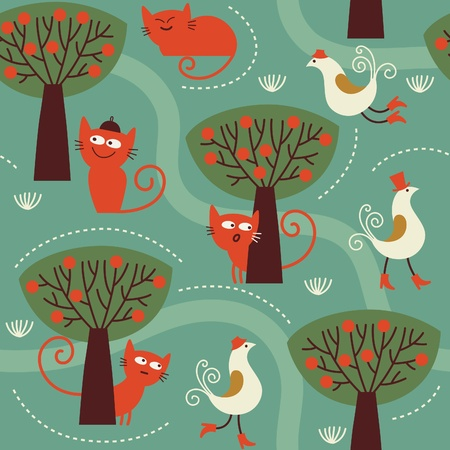 whimsical pattern: seamless pattern with cats