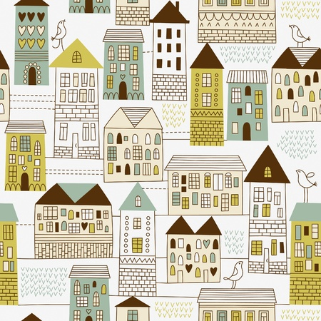 town abstract: seamless pattern with urban landscape Illustration