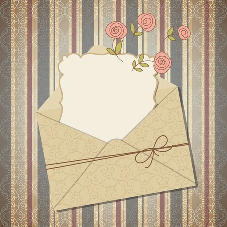 vintage retro frame: Vintage greeting card in envelope or invitation