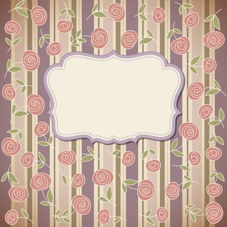 Cadre de cru avec des fleurs, vecteur de fond rétro Vecteurs