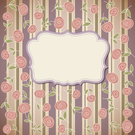 Vintage frame with flowers , vector retro background Vector