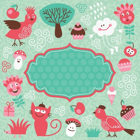 frame and set cute cartoon elements Vector
