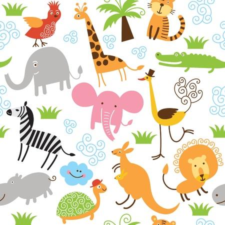животные: бесшовный фон с милыми животными