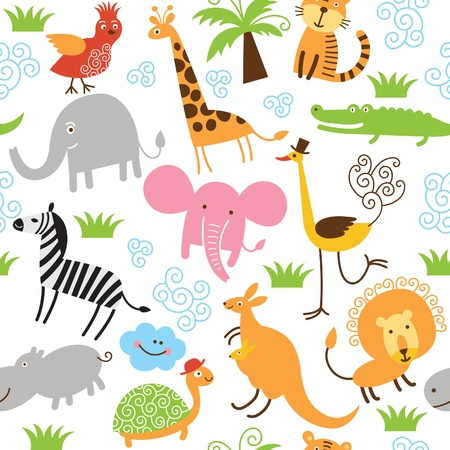 seamless pattern with cute animals Stock Vector - 13396914
