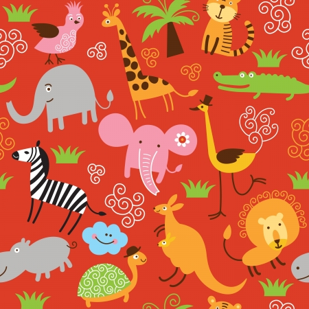 seamless pattern with cute animals 일러스트
