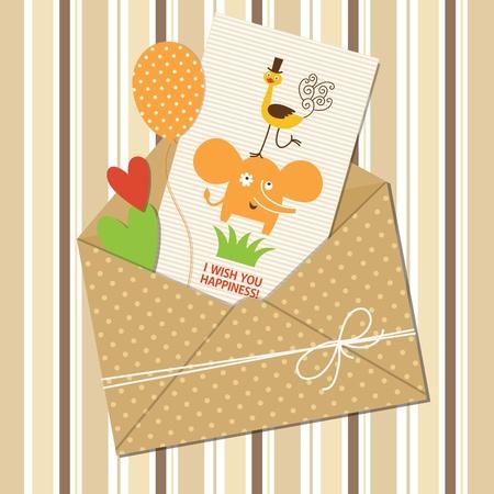 avestruz: tarjeta de felicitaci�n con lindos elefante y avestruz, cortar la bola y el coraz�n