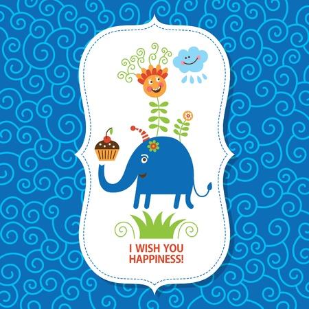 marcos decorados: tarjeta de felicitaci�n para los ni�os